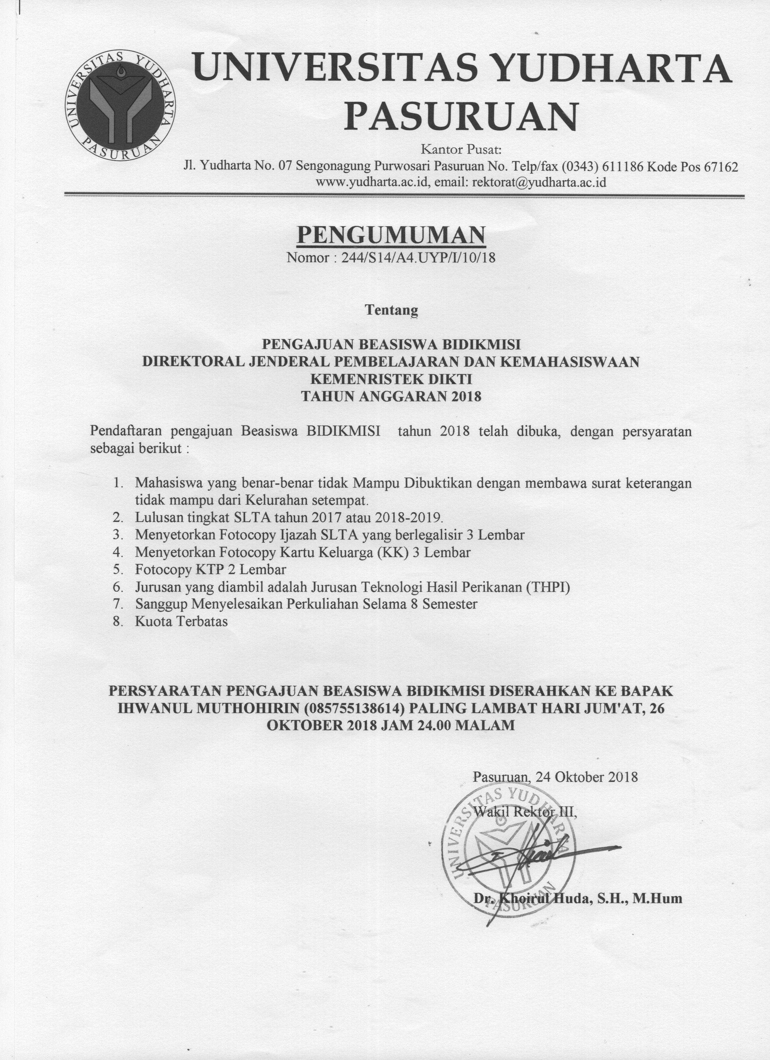 Pengajuan Beasiswa Bidikmisi 2018 Universitas Yudharta